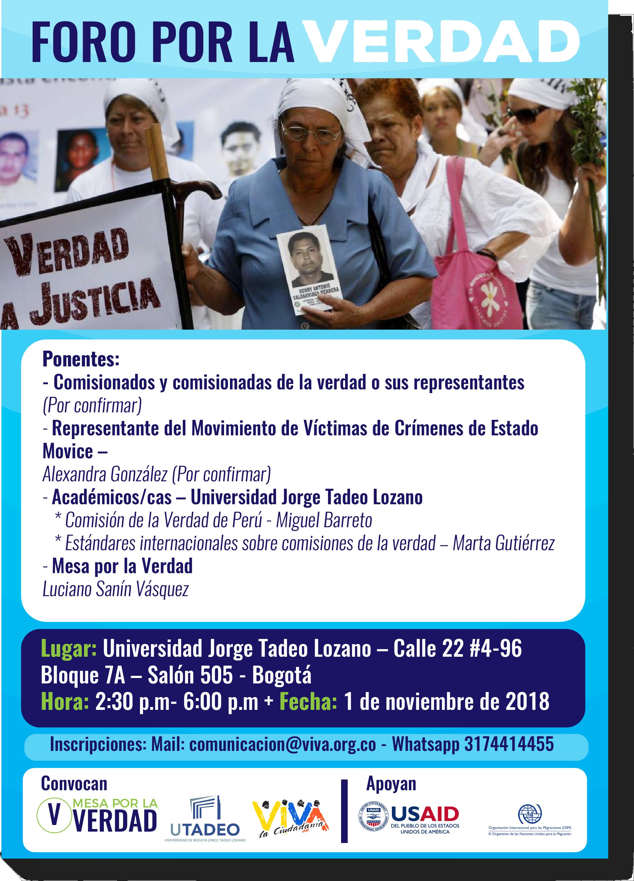 Mañana Foro por la Verdad – Bogotá